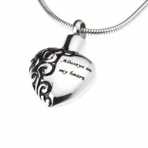 "Heart pendant - ""Always in my heart"""