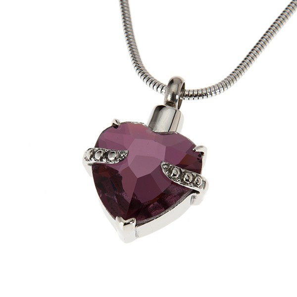ethyst Crystal Heart Pendant
